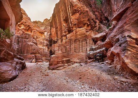 Entrance to the ancient city of Petra Jordan, Jordan