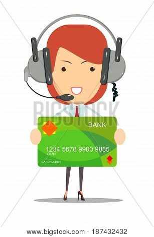 Dispatcher bank consultant help with credit card and buying on line. customer service