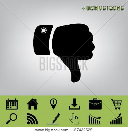 Hand sign illustration. Vector. Black icon at gray background with bonus icons at celery ones