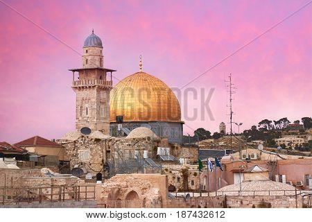 Minaret and mousque Al-aqsa. Dome of the Rock. Jerusalem. Israel