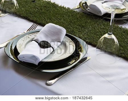Dish and napkin decoration ready to eat