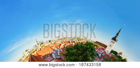 Tallinn, Estonia. Traditional Ancient Architecture Of Old Town Cityscape In Historic District. Summer Evening. Famous Landmarks, Destination Scenic In Funny Panorama Like Half Part Of Little Planet