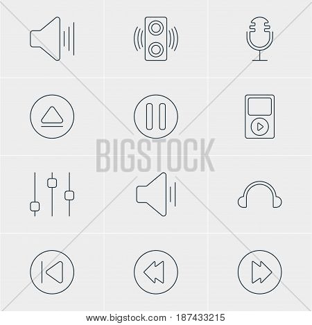 Vector Illustration Of 12 Melody Icons. Editable Pack Of Volume Up, Rewind, Audio And Other Elements.
