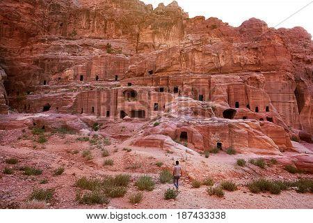 Ancient city of Petra Jordan stone caves