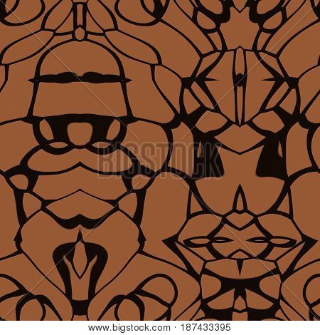 Seamless Abstract Pattern In Orange And Black Tones