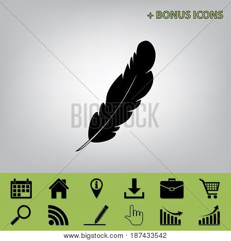 Feather sign illustration. Vector. Black icon at gray background with bonus icons at celery ones