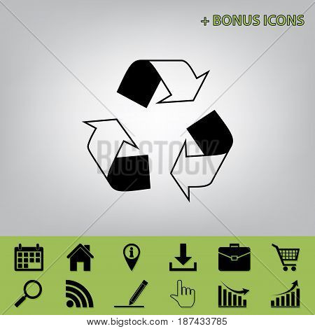 Recycle logo concept. Vector. Black icon at gray background with bonus icons at celery ones