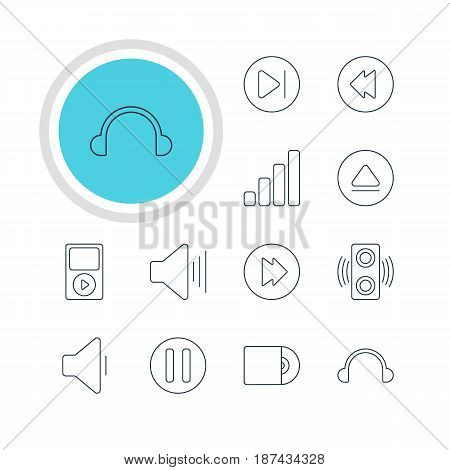 Vector Illustration Of 12 Melody Icons. Editable Pack Of Lag, Subsequent, Acoustic And Other Elements.