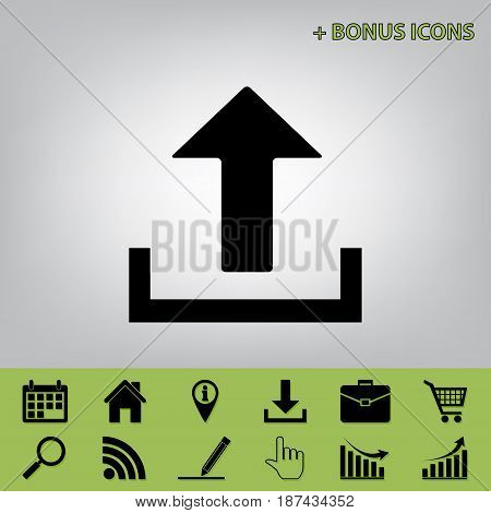 Upload sign illustration. Vector. Black icon at gray background with bonus icons at celery ones