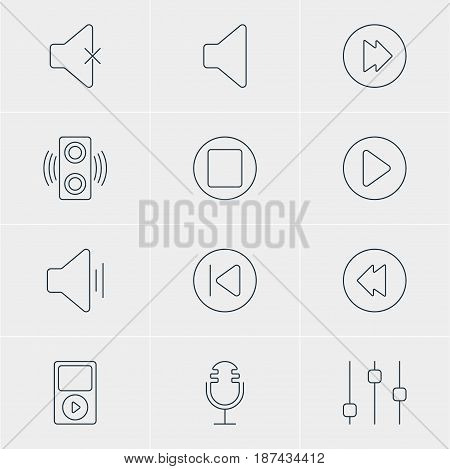 Vector Illustration Of 12 Melody Icons. Editable Pack Of Start, Reversing, Speaker And Other Elements.