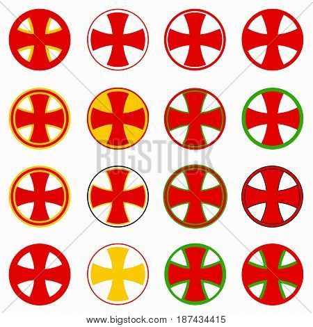 red pharmacy cross vector set - healthcare medical icon