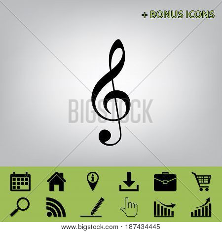 Music violin clef sign. G-clef. Treble clef. Vector. Black icon at gray background with bonus icons at celery ones