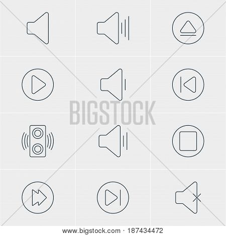 Vector Illustration Of 12 Melody Icons. Editable Pack Of Soundless, Pause, Audio And Other Elements.