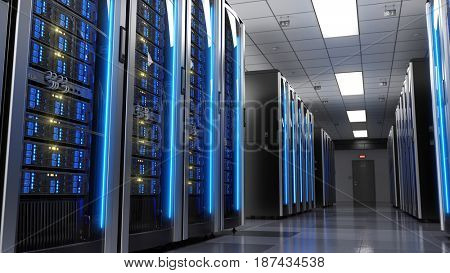 Server racks in server room data center.3d render