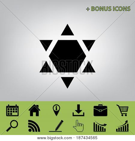 Shield Magen David Star Inverse. Symbol of Israel inverted. Vector. Black icon at gray background with bonus icons at celery ones