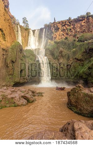 Ouzoud Waterfalls in the Grand Atlas village of Tanaghmeilt province of Azilal Morocco.