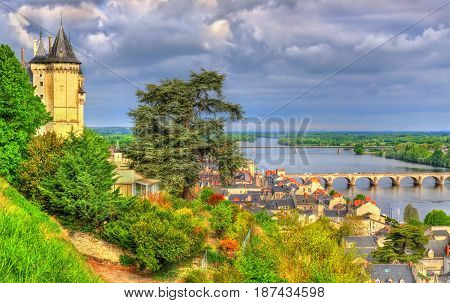 Panorama of Saumur on the Loire river in France, Maine-et-Loire department