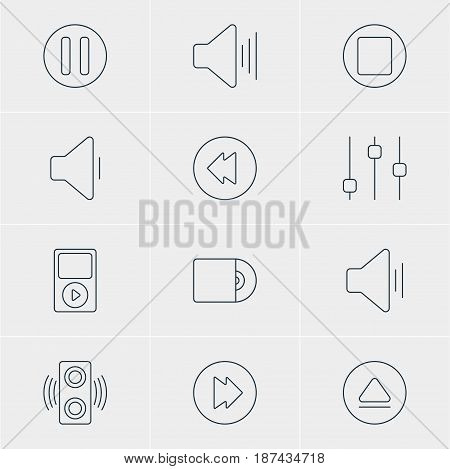 Vector Illustration Of 12 Music Icons. Editable Pack Of Audio, Stabilizer, Compact Disk And Other Elements.