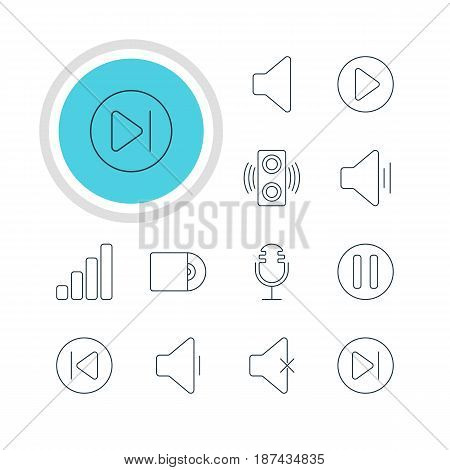 Vector Illustration Of 12 Music Icons. Editable Pack Of Soundless, Compact Disk, Decrease Sound And Other Elements.