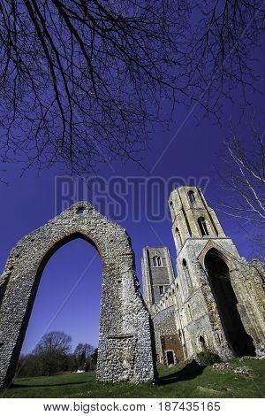 Historic English church ruin. Wymondham abbey ancient monument East Anglia UK