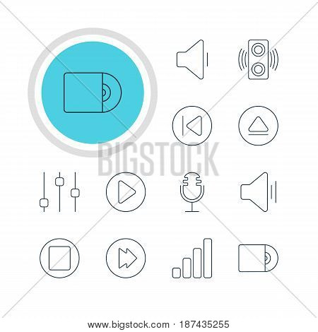 Vector Illustration Of 12 Music Icons. Editable Pack Of Rewind, Stabilizer, Compact Disk And Other Elements.