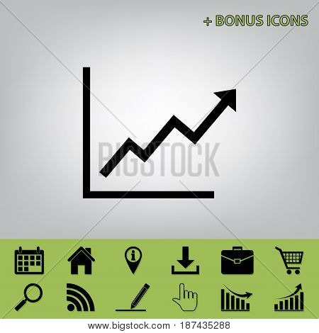Growing bars graphic sign. Vector. Black icon at gray background with bonus icons at celery ones