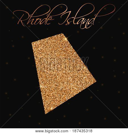 Rhode Island State Map Filled With Golden Glitter. Luxurious Design Element, Vector Illustration.