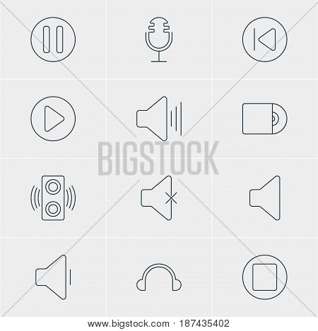 Vector Illustration Of 12 Melody Icons. Editable Pack Of Decrease Sound, Lag, Soundless And Other Elements.