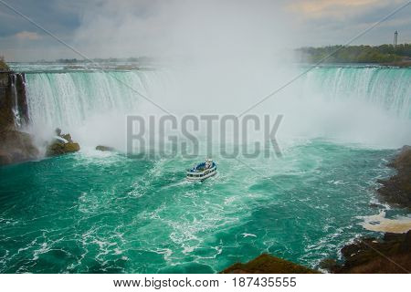 The horseshoe shape of famous Niagara Falls, Ontario, Canada
