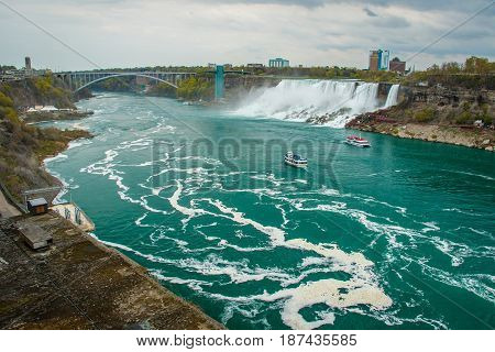 The famous touristic destination of Niagara Falls from Canadian site, Ontario, Canada