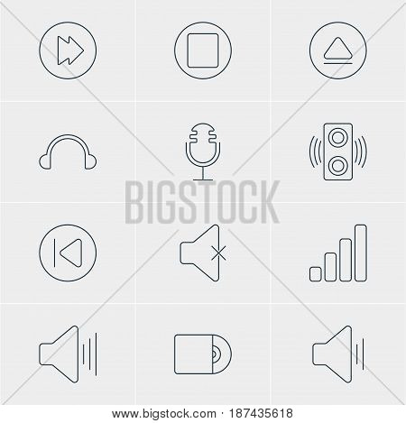 Vector Illustration Of 12 Melody Icons. Editable Pack Of Pause, Amplifier, Audio And Other Elements.