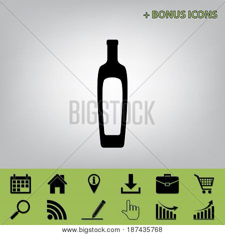 Olive oil bottle sign. Vector. Black icon at gray background with bonus icons at celery ones
