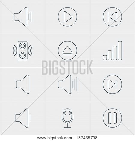 Vector Illustration Of 12 Music Icons. Editable Pack Of Decrease Sound, Start, Speaker And Other Elements.