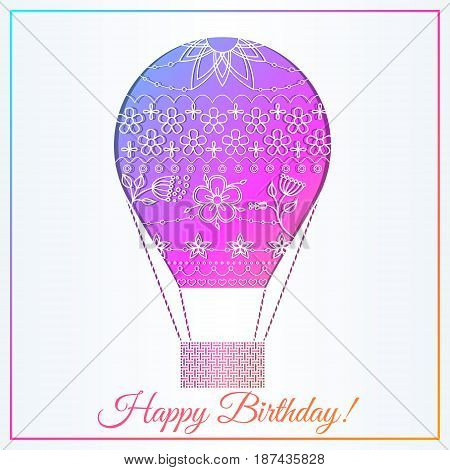 Happy birthday card with air balloon gradient vector