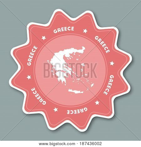 Greece Map Sticker In Trendy Colors. Star Shaped Travel Sticker With Country Name And Map. Can Be Us