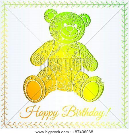 Happy birthday card with bear gradient vector