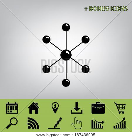 Molecule sign illustration. Vector. Black icon at gray background with bonus icons at celery ones