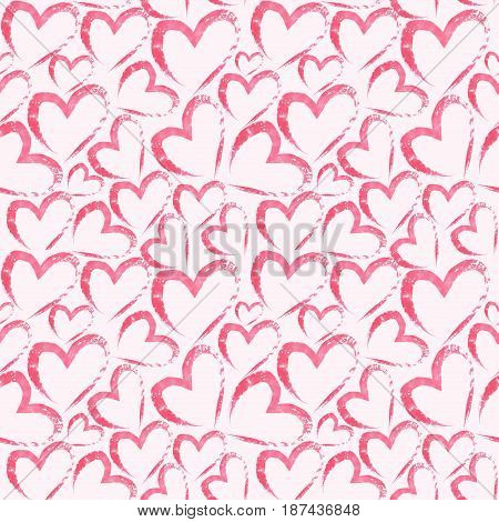 Watercolor hand drawn seamless pattern with hearts on light pink background . Watercolor illustration