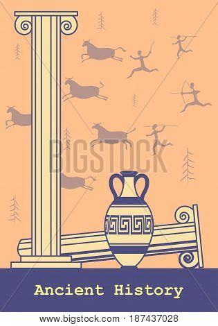 Ancient Greek vase column , ancient hunting historical background. Vector illustration.