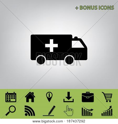 Ambulance sign illustration. Vector. Black icon at gray background with bonus icons at celery ones