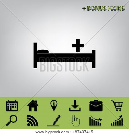 Hospital sign illustration. Vector. Black icon at gray background with bonus icons at celery ones