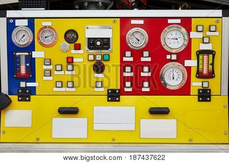 Control panel of a figherfighter truck