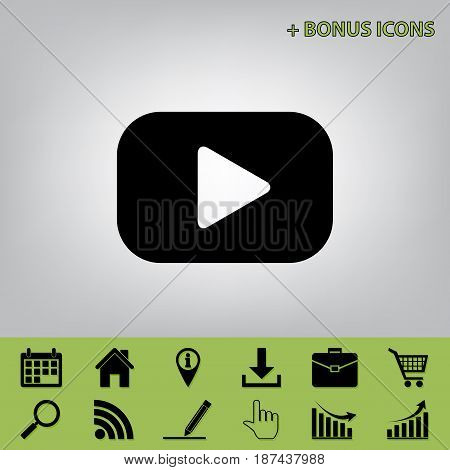 Play button sign. Vector. Black icon at gray background with bonus icons at celery ones