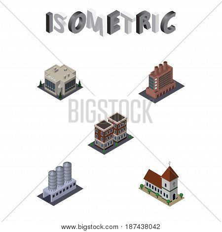 Isometric Construction Set Of Industry, Water Storage, House And Other Vector Objects. Also Includes Tank, Building, Office Elements.