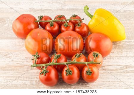 Cucumber, Tomato, Pepper And Fennel Isolated On White Background Close Up.