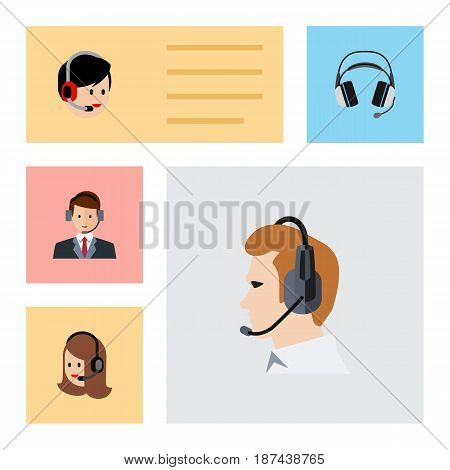 Flat Center Set Of Operator, Earphone, Telemarketing And Other Vector Objects. Also Includes Headphone, Telemarketing, Call Elements.