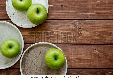 green apples for healthy fruit dessert on white table background top view mockup