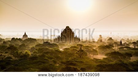 Bagan temples in misty morning, Myanmar. (Burma)