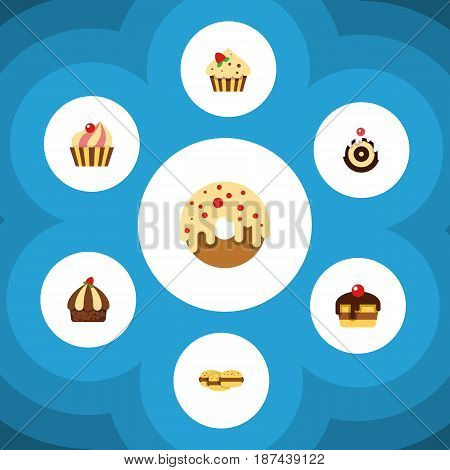 Flat Cake Set Of Pastry, Cupcake, Confectionery And Other Vector Objects. Also Includes Confectionery, Donuts, Pastry Elements.