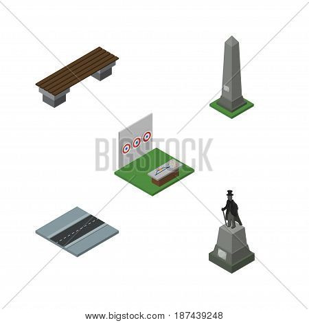 Isometric Street Set Of Path, Dc Memorial, Bench And Other Vector Objects. Also Includes Bench, Dc, Path Elements.